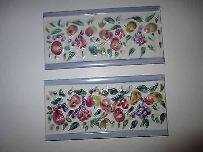 2 Laura Ashley Designed Ceramic Wall Tiles. Terra Cotta with Majolica Floral