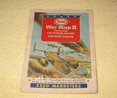 Vintage ESSO War Map II - Featuring The World Island Fortress Europe