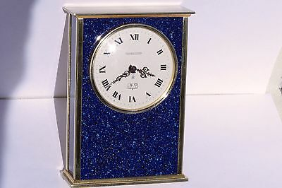Vintage Jaeger Le-Coultre Alarm Reuge Musical Desk Clock Lapis Lazuli Brass 8day