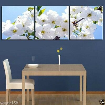 White Cherry Blossom Modern Decor Canvas Oil Painting(No frame)