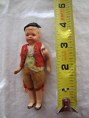Small Antique/Vintage Painted All Bisque German Dollhouse Doll - #5