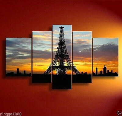 Details about  Handmade Abstract Cityscape Oil Painting 5PC Modern Canvas (no fr