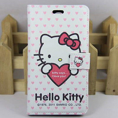 New Hello kitty PU Leather Skin Cover Case For Samsung Galaxy Mega 6.3 i9200