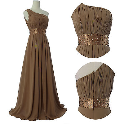 CHEAP~ Vintage Homecoming Beaded One Shoulder Long Cocktail Party Evening Dress