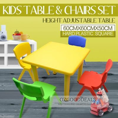 Kids Toddler Children Square Activity Table and 4 Chair Chairs Yellow 60x60cm S