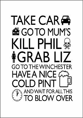 Shaun of the Dead Quote zombie movie white poster print A2
