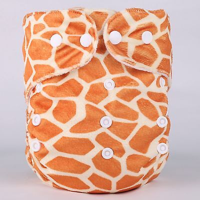 Giraffe Print Washable Reusable Adjustable Snap One-Size Minky Cloth Diapers-D16
