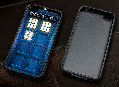 Tardis Doctor Who case cover rubber silicone protector for Apple iPhone 4 4s