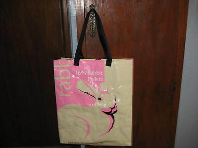 Reusable Recyle Eco-friendly shopping tote bag. Recycled Pink Rabbit feed bag