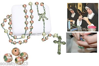 Handcrafted Catholic Rosary Cloisonne Pink 8 mm Limited Supply