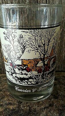 Currier & ives arby's glass american farm in winter 1981