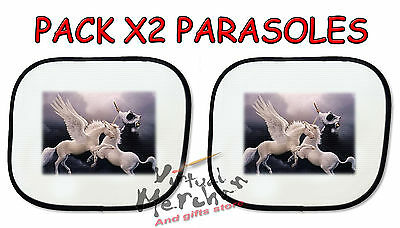 PACK 2 PARASOLES O 1 parasol PEGASO VS UNICORNIO FANTASIA sunshield coche car