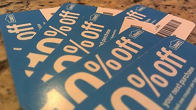 4 Lowes 10%-Off-Coupons Blue Cards Use at Lowes or Home Depot Expire 5/7/2015