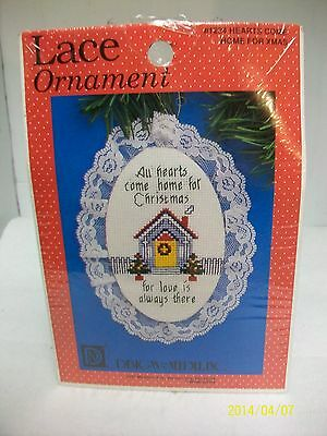 """DESIGNS COUNTED CROSS STITCH KIT """"HEARTS COME HOME"""" LACE ORNAMENT, SEALED USA"""