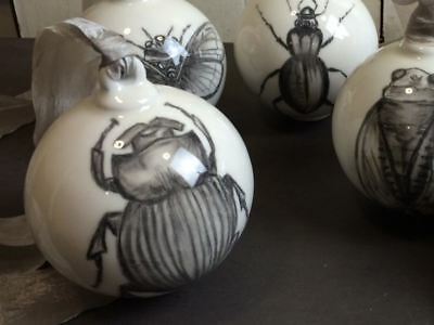Hand Drawn Dung Beetle Ceramic Bauble Decoration, Unusual Gift, Insect, Ribbon