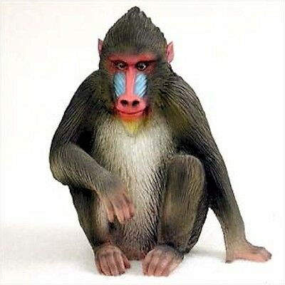 Realistic Hand Painted Cold Cast Stone Resin Mandrill Display Figurine