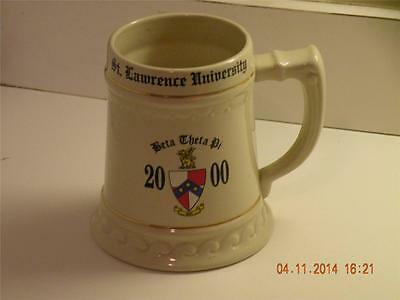 "2000 St Lawrence University Beta Theta Pi stein 6"" tall 22K gold trim"