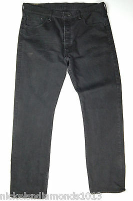 f319403692e LEVI'S 501 ORIGINAL Button-Fly Black Denim Men's Jeans 38 x 34 (33 ...
