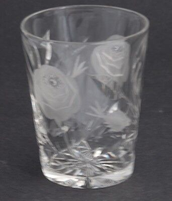 4 American  Cut Glass ABP tumblers frosted gravic rose for MADE IN USA
