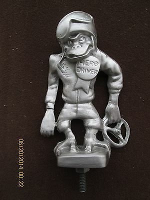 very rare, vintage monkey hero driver,hot rod, rat rod, car hood ornament