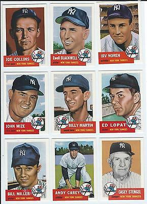 1991 Topps Archives 1953, New York Yankees, Lot of 9