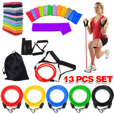 Latex Resistance Bands Yoga Home Gym Exercise Fitness Workout Heavy Handle 13pcs
