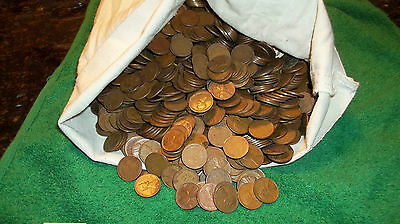 500 MIXED 1930'S LINCOLN ONE CENTS WHEAT PENNIES 10 ROLLS FROM 5000 COIN BAG