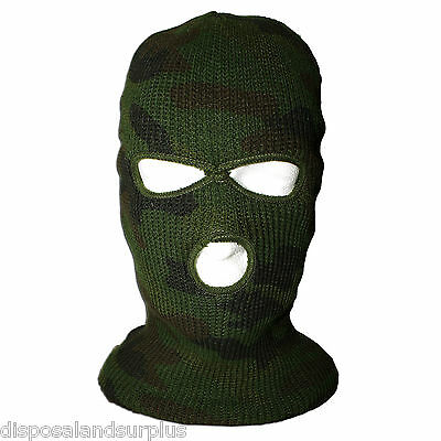 Balaclava Green Full Face Hunting Mask - Woodland Camouflage