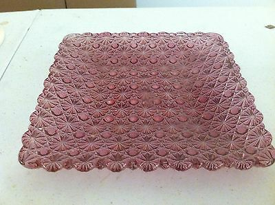 ANTIQUE EAPG PATTERN GLASS DAISY & BUTTON TRAY PURPLE WATER MELLON