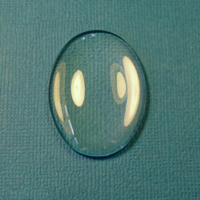 10pcs x  OVAL 25x18mm Clear Glass Dome Cabochon tile cameo pendant DIY