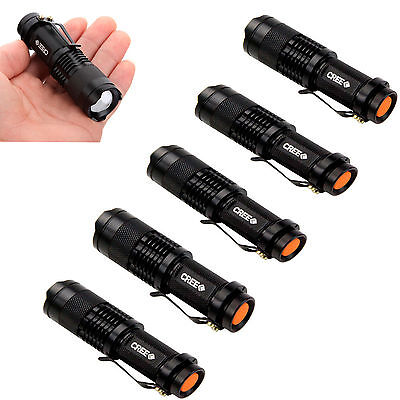5PCS 7W 1200LM  Zoomable CREE Q5 LED Adjustable Focus Mini Flashlight Lamp Torch