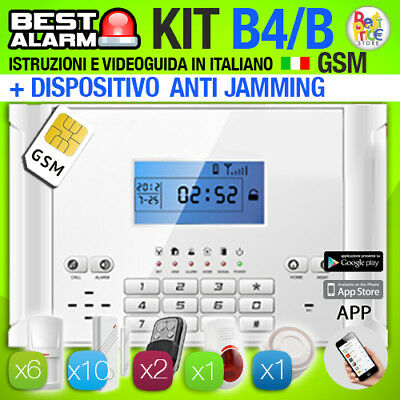 ANTIFURTO KIT B4B ALLARME CASA WIRELESS 433 Mhz COMBINATORE GSM ANTIJAMMING