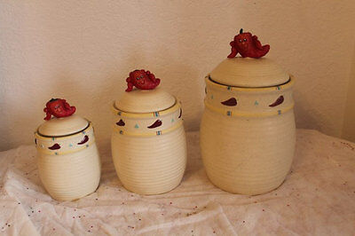 Chili Peppers Canister Set Figural Chili Pepper On Lids 3 Kitchen Canisters