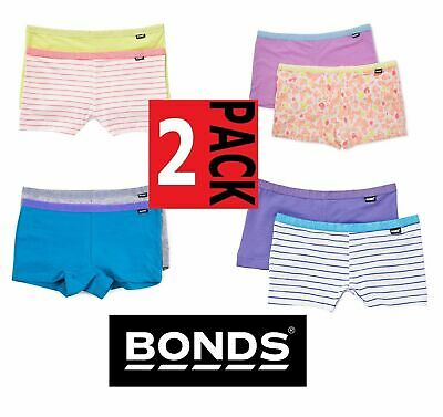 New Girls Kids Bonds 2 Pack Hipster Bikini Shorties Shorts Cotton Netball School