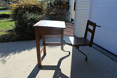 UNUSUAL ANTIQUE DESK WITH ATTACHED SWIVEL CHAIR - VERY UNIQUE