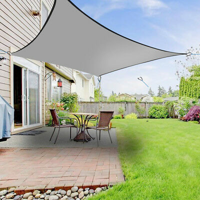 5m Sun Shade Sail Garden Patio Awning Canopy 98% UV Block Square Anthracite New
