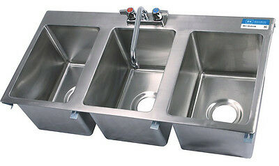 Stainless Steel Commercial (3) Three Compartment Drop In Sink with Faucet