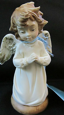 New Catholic A. Santini Kneeling Angel Statue Made in Italy Goldscheider
