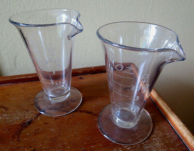 PAIR of SMALL APOTHECARY BEAKERS wuth ETCHED NUMBERS PHARMACEUTICAL - ANTIQUE