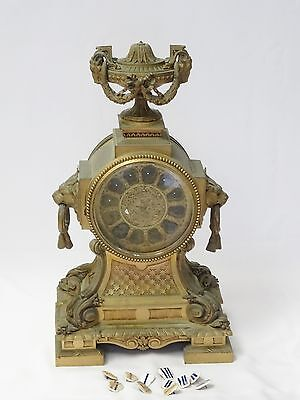 Magnificent Massive 19C French Louis Xvi Dore Bronze Lion Head Clock * Case Only