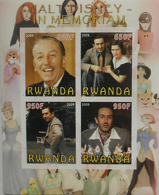 Walt Disney in memoriam / cartoon artist m/s Rwanda 2009 MNH IMPERF #F455