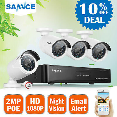 SANNCE 4CH NVR 960P 2500TVL PoE Outdoor Network Home Security Camera CCTV System