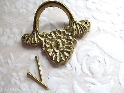 Vintage Cast Brass Decorative Drawer Pull w/Center Flower Detail New Old Stock!
