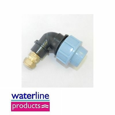 Union Elbow 90 Compression Fitting for Blue Water/MDPE/Alkathene Pipe