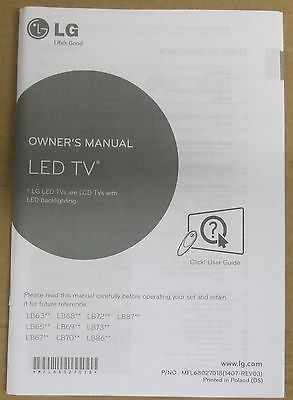 genuine original lg led tv user guide manual lb63 lb65 lb67 lb68 rh picclick co uk lg led tv owner's manual lg led tv owner's manual