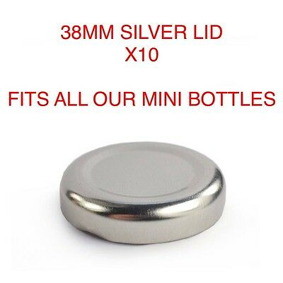 10X 38mm SILVER LIDS FOR 200 & 250ml MINI MILK BOTTLE VINTAGE PARTY WEDDING
