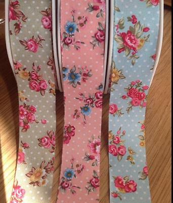 Berties Bows Vintage style Floral and Polka Dot Ribbon 25mm wide Flower  Print
