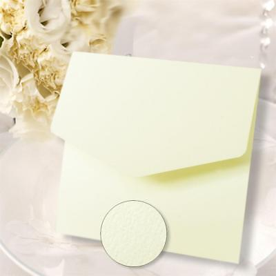10 Square Pocketfold Invitations Ivory Textured & Match Envelope & Blank Insert