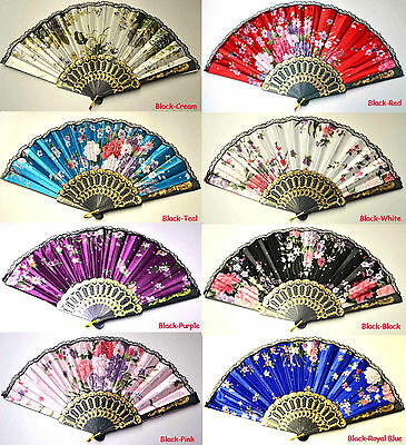 Spanish Lace Silk Folding Hand Held Dance Fan Flower Pattern Party Wedding Gift