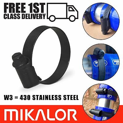 Black W3 Mikalor Stainless Steel Jubilee Hose Clip Silicone Engine Pipe Clamps